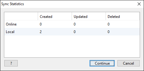 Syncing with TreeView Online - Sync Statistics